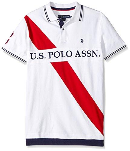 U.S. Polo Assn. Men's Slim Fit Color Block Short Sleeve Pique Polo Shirt, 8331-White, XL