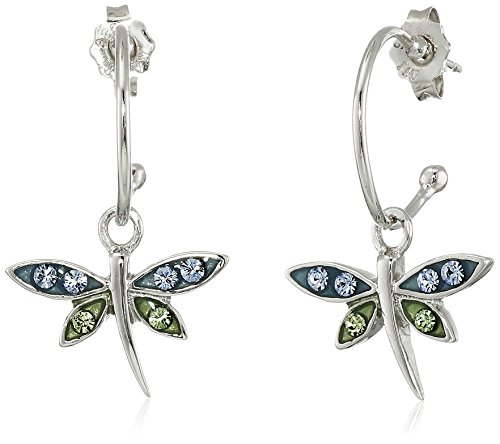 Sterling Silver Blue and Green Crystal Dragonfly Charm Hoop Earrings Green Dragon Charm