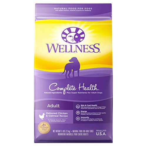 Wellness Complete Health Natural Dry Dog Food, Chicken & Oatmeal, 5-Pound Bag