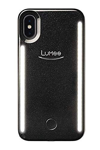 sports shoes 43431 0863d LuMee Duo Phone Case, Black Glitter | Front & Back LED Lighting, Variable  Dimmer | Shock Absorption, Bumper Case, Selfie Phone Case | iPhone X/iPhone  ...