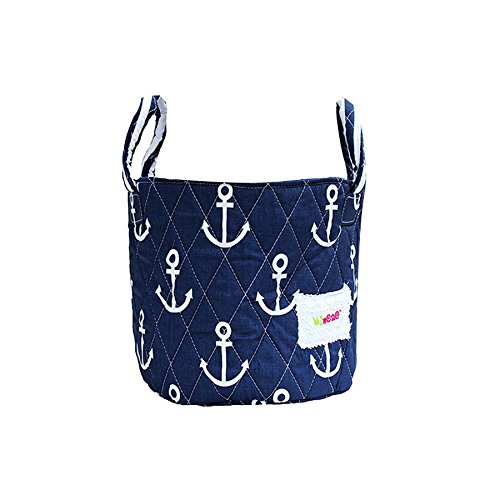 Minene Small Storage Fabric Basket Organiser with Handel Blue Anchor 18x22cm 21137