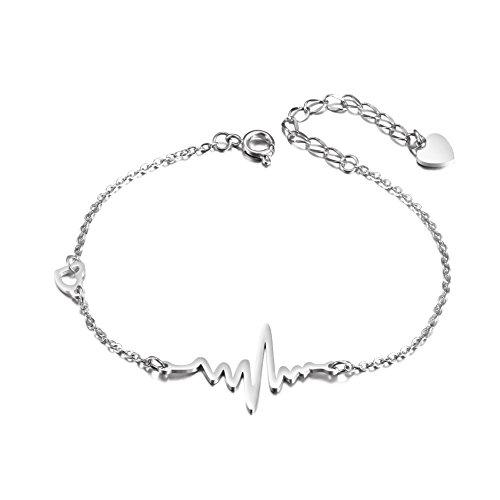 - JINBAOYING Stainless Steel Heartbeat Cardiogram Charm Bracelet Sideway Adjustable Bracelets for Women Girls