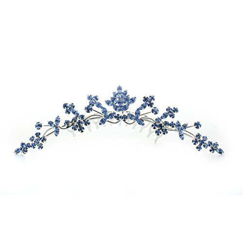 Kate Marie Rhinestone Tiara Hair Comb Crown in Blue by Kate Marie