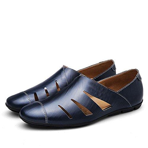 Hohle Größe Herrenschuhe Freizeit Leder Feet Schuhe Faule British Schuhe Große Blau XIAOQI gxqYFdwg