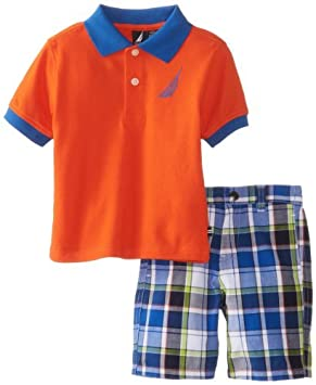 Nautica Baby-Boys infantil 2 pieza sólida polo Plaid Short Set ...