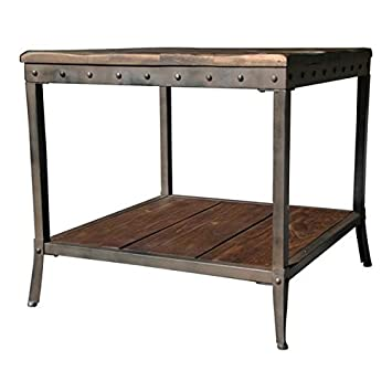 Rustic Vintage Wooden Metal Side End Sofa Table Country Industrial Antique Distressed Reclaimed Wood Look