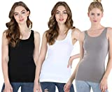 Nikibiki Women's Seamless Premium Classic Tank Top, Made in U.S.A, One Size (Pack of 3: Black, White, Cool Grey)
