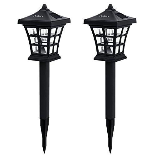 Aglaia LED Solar Gartenleuchten Erdspieß, 2er Set Wasserdicht Solarleuchte LED mit Auto Schalter, Solar Gartenlampen für Außen Landschaft