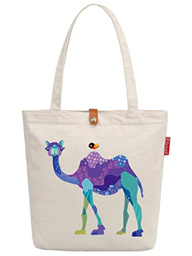 So'each Women's Animal Camel Bird Graphic Top Handle Canvas Tote Shoulder Bag