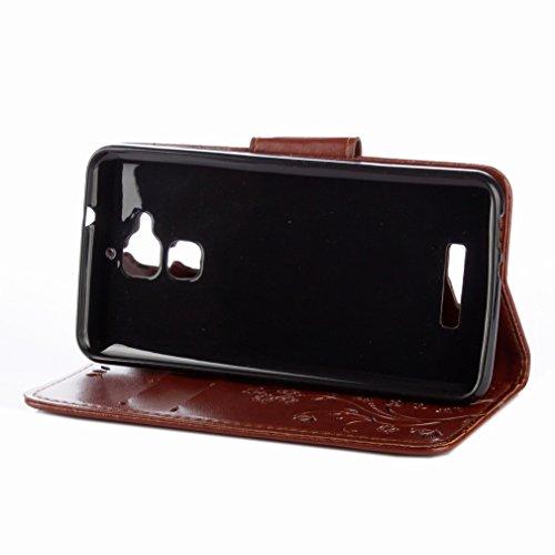 Yiizy Asus Zenfone 3 Max ZC520TL Custodia Cover, Fiori Sollievo Design Sottile Flip Portafoglio PU Pelle Cuoio Copertura Shell Case Slot Schede Cavalletto Stile Libro Bumper Protettivo Borsa (Marrone)