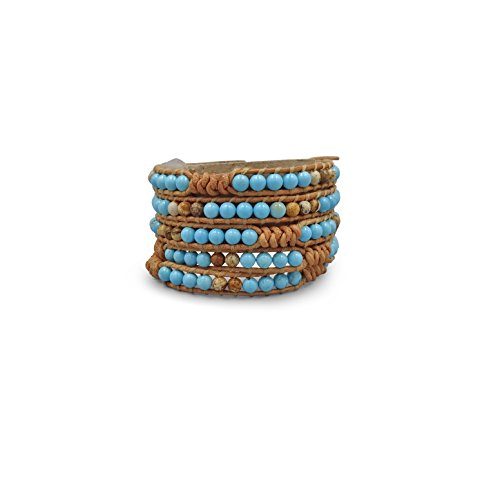 MGR Multi-Layer Hand Crafted Boho Blue Magnesite Turquoise Stone Beaded on Genuine Leather Super 5 Wrap Bracelet 35