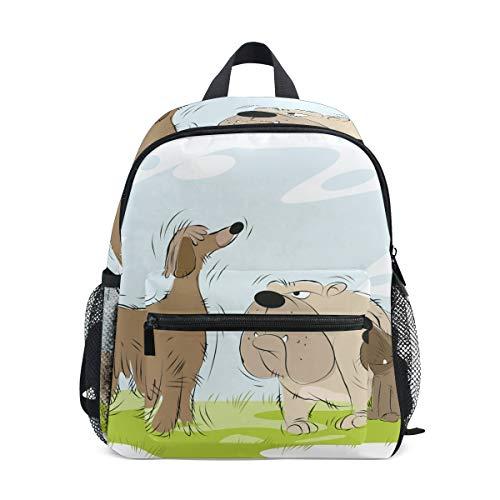 Mini School Backpack College Bag Kids Bookbag for Boys Girls Meeting Dogs On Walk