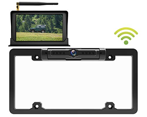 Calmoor License Plate Back-up Camera, Universal Wireless Rear View Camera, HD 170 Degrees Angle View, IP69K Waterproof Night Vision, with 5
