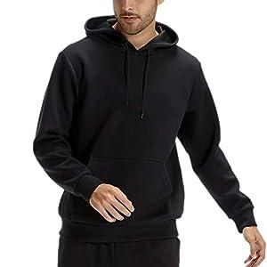 Mens Hoodies Solid Pullover Hoodie Sweatshirt Athletic Basic Hoody with Pocket Black XS