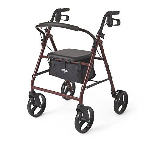 Medline Standard Adult Steel Folding Rollator Walker Aid with 8 Inch Wheels, Burgundy by Medline