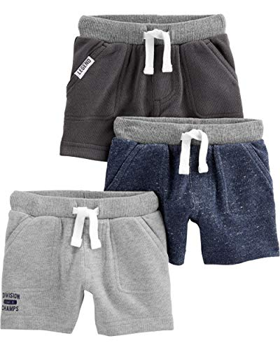 Simple Joys by Carter's Baby Boys' Toddler 3-Pack Knit Shorts, Navy Heather, Charcoal Heather, Gray, 3T ()