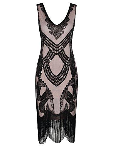 PrettyGuide Mujeres 1920s Gatsby Art Deco Lentejuela con Flecos de Coctel Vestido De Charleston Negro Beige