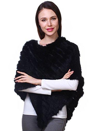 Ferand - 女性のための女性のエレガントな本物のニットのウサギの毛皮ポンチョケープショール - レディーズ