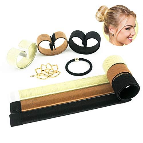 Hair Bun Maker - Easy Sock Buns Fast French Curler Magic Donut Twist Shaper - Perfect DIY Accessories Styling Tool for Girls Women - 3 PCS (Black, Blonde, Brown), 1 Metal Lotus Hair Clip, 1 Hair Tie