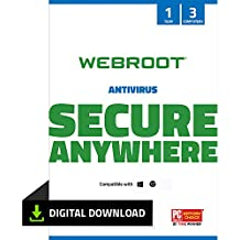 Webroot Internet Security with Antivirus Protection – 2019 Software | 3 Device | 1 Year Subscription | PC Download