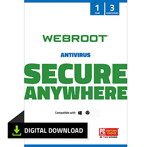 Webroot Internet Security with Antivirus Protection - 2019 Software | 3 Device | 1 Year Subscription | PC Download