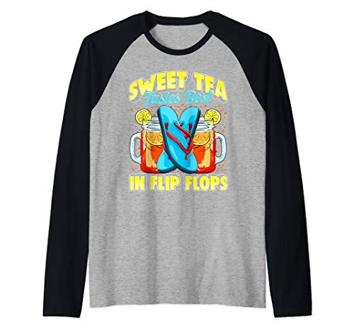 Sweet Tea and Flip Flops Southerners Summer Vacation Drink  Raglan Baseball Tee