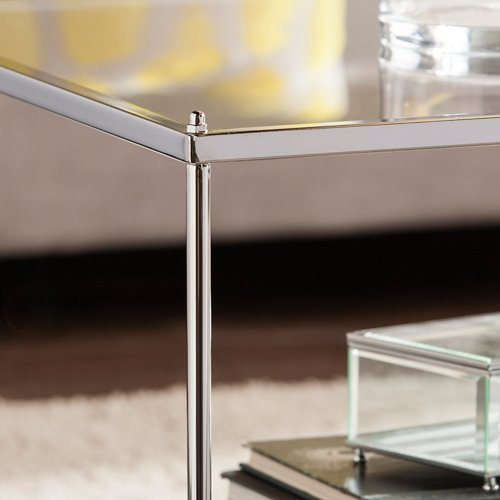 Southern Enterprises Knox Glam Mirrored Coffee Table in Chrome