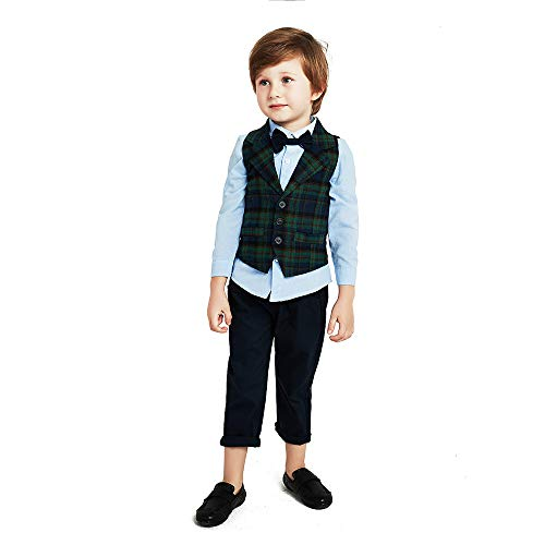 Baby Boy Gentleman Set with Dress Shirt+Bow Tie+Vest and Pants 3PC Set