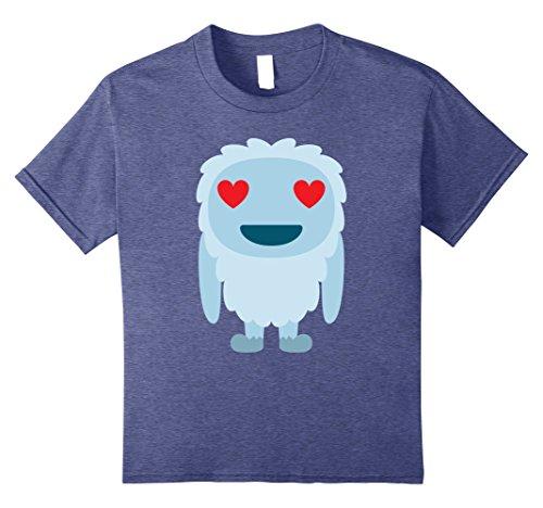 [Kids Yeti Emoji Shirt Heart and Love Eyes T-Shirt Tee 12 Heather Blue] (Yeti Costume For Kids)