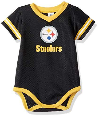 (NFL Pittsburgh Steelers Unisex-Baby Dazzle Bodysuit, Black, 6-12 Months)