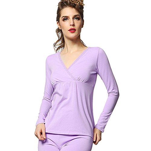 heaven2017 Women's Long Sleeve Easy Breastfeeding Top + Pants Maternity Nursing Pajama Set Size XL (Purple) by heaven2017