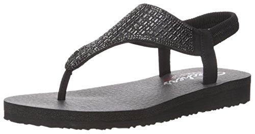 Skechers Cali Women's Meditation-Rock Crown Flat Sandal,black/black,10 M US (Black Sandals Shoes)