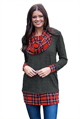 New nero autunno vento plaid Cowl collo pullover a maniche lunghe camicetta estate camicia top casual Wear taglia UK 8EU 36