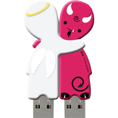 Usb Drive 4gb Elec Dane - Dane-Elec 4GB USB Sharebytes Flash Drives, 2 Pack, Devil and Angel (DA-Z04GSBK4-C)