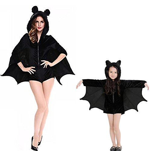 Halloween Costumes For Mother And Daughter (Halloween Women's Coverall Stunt Sexy Female Bat Cosplay Costumes Family Matching Outfits Mother Daughter Dresses (S, Daughter))