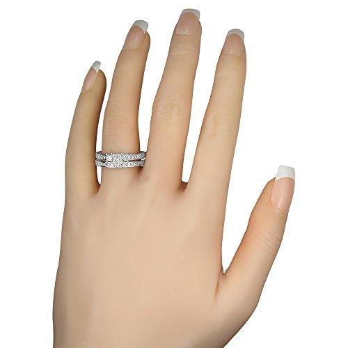 14k White Gold Princess cut Three Stone Diamond Bridal Set Wedding Ring (1 cttw, I J, I1 I2)