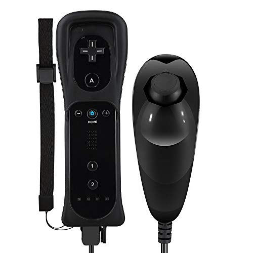 Maliralt Remote Controller and Nunchuck for Nintendo Wii/Wii U, LP02 Wii Wireless Controller with Joystick Silicone Case and Wrist Strap Build-in Vibration Motor - Black (Third-Party Made)