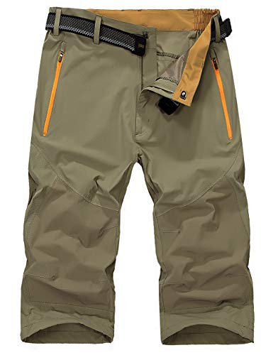 EKLENTSON Mens Outdoor Stretch Expandable Waist Quick Drying Shorts Lightweight Cargo Shorts (No Belt)