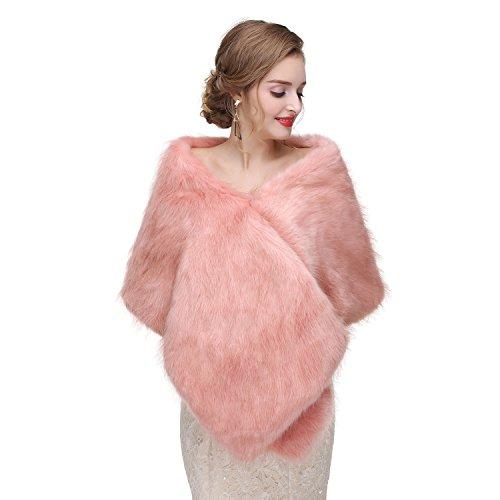 Limeng Women Evening Party Faux Fur Coat Wedding Cloak Cape Pink Shawl ()