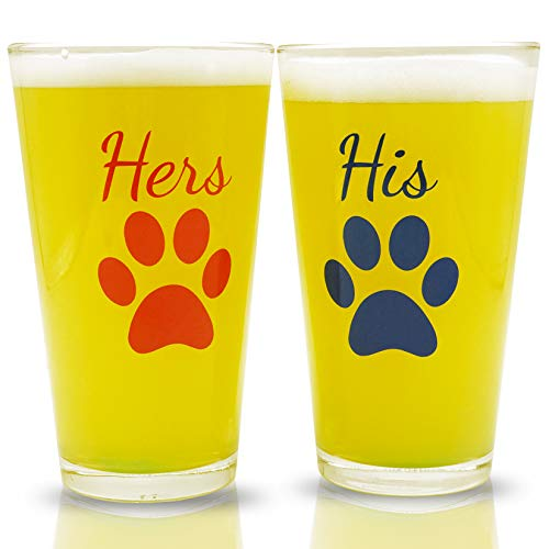 (His and Hers Pint Beer Glasses Gift Set | Funny Engagement or Wedding Present | Perfect for Dog Lovers, Newlyweds, Anniversary Presents, Bride and Groom, and Couples )