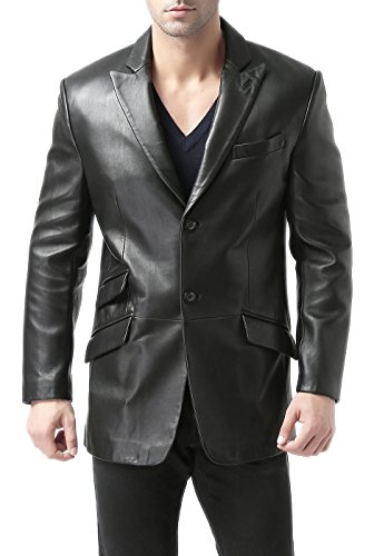 (BGSD Men's Noah 2-Button Lambskin Leather Blazer,Black,Large)