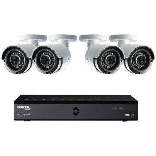 Lorex by FLIR LHA2000 8-C HD MPX DVR with 4X LAB223B 1080p Weatherproof 130′ IR Camera and Pre-Installed 1TB HDD, FLIR Secure Connectivity