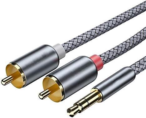 RCAオーディオケーブルジャック3.5テレビPCアンプDVDスピーカーワイヤーのための2RCA男性スプリッタ補助ケーブルに2 RCAケーブル3.5ミリメートルジャックへ オーディオケーブル ケーブル 変換 音楽再生車載用 スピーカー/カーステレオなどに対応自動車部品& (Color : Dark Grey, Size : 1m)