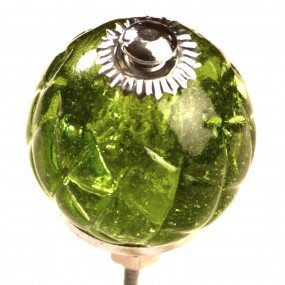 SET OF 2 Glass Crystal Criss-Cross Knob, Olive Green