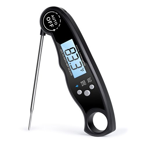 Rophie Digital Instant Read Food Thermometer Cooking Thermometer Meat Thermometer Kitchen Thermometer with Backlit LCD /Folding Probe for Easter, BBQ, Oven, Grill,Kitchen Candy, Meat Cooking (Black)