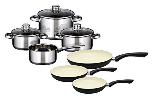 M+K by ELO Meine Küche 99821Skyline 10-Piece Cookware Set, Stainless Steel, Silver, 1x 1x 1cm, 10Units
