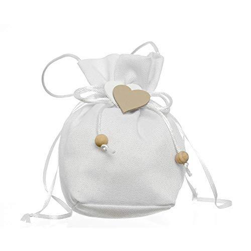 Publilancio srl 36X Tasche Mandeln Beutel weiß 12 cm mit Herzen Holz Bonboniere