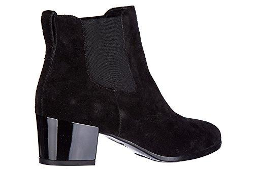 Hogan stivaletti stivali donna con tacco camoscio h272 tronchetto liscio elastic