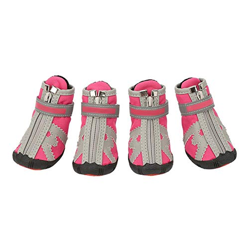 Yosoo Dog Shoes Boots,4Pcs Anti-Slip Fashionable Winter Warm Snow Boots Hiking Boots Running Shoes Rain Boots Small Medium Large Dogs (Pink No.4) ()