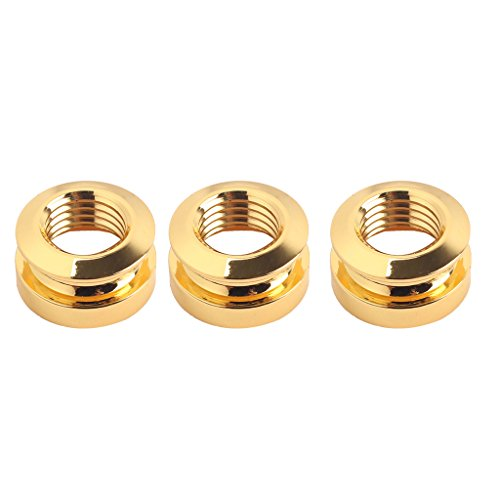 Non-brand 3pcs/Pack Endpin Jack Strap Buttons Golden for Guitar Bass Musical Instrument Parts